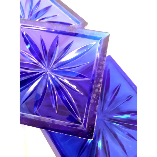 Mid Century Cobalt Blue Cut Lucite Coasters - 4 - Image 4 of 8