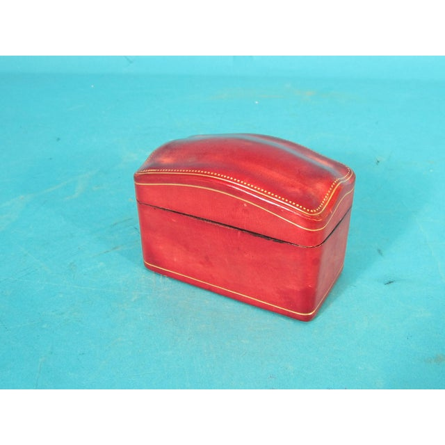Italian Red Leather Card Box for 2 Decks - Image 2 of 6