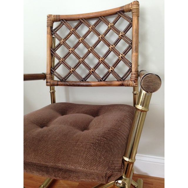 Image of Faux Bamboo Brass & Rattan Chairs - Set of 4