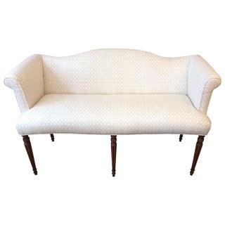 Vintage Upholstered Fluted Leg Settee