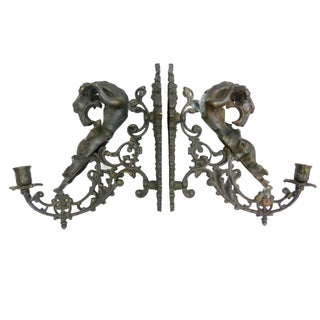 Antique Cast Brass Dragon Wall Sconces - A Pair
