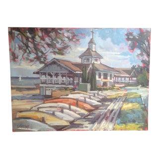 "Bright, Multicolored ""Lakeside Pavilion"" Original Oil Painting"