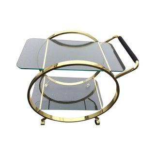 MCM Glass & Brass Circular Style Bar Cart