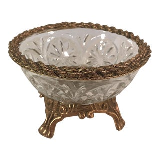 Vintage Glass and Brass Bowl With Rope Design