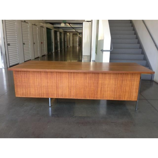 Mid-Century Executive Knoll Desk With Cane Detail - Image 2 of 7