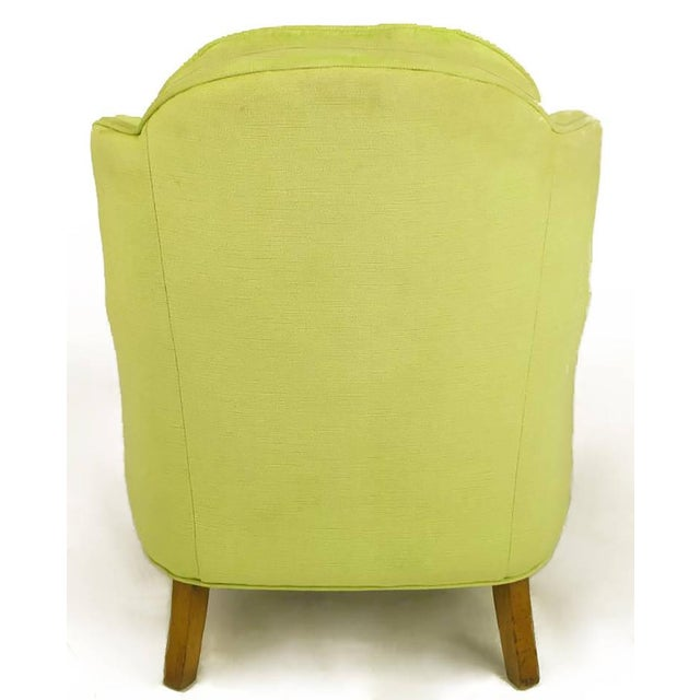 Pair of Chartreuse Yellow-Green Velvet Regency Lounge Chairs - Image 7 of 9