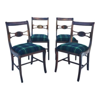 Rustic Farmhouse Antique Dining Chairs With Wool Plaid Seats- Set of 4