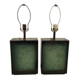 Sascha Brastoff Mid-Century Green Pottery Lamps - A Pair
