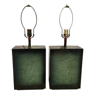 Sascha Brastoff Mid-Century Green Pottery Lamps - A Pair