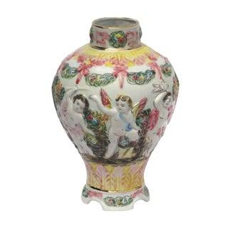 Italian Majolica Vase with Putti Design