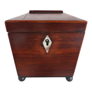 18th-Century English Footed Inlaid Tea Caddy