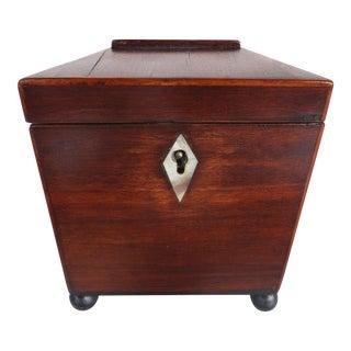 18th-Century English Footed Inlaid Tea Caddy