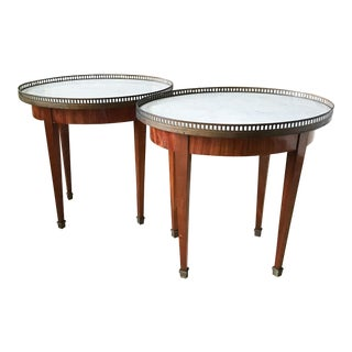 Antique Louis XVI Style Marble Top Bouillotte Tables - A Pair