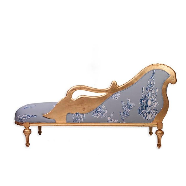 Antique Gilded French Chaise in Oscar de la Renta Fabric - Image 4 of 4