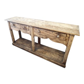 Raw Wood Console With 2 Drawers & Lower Tier Platform