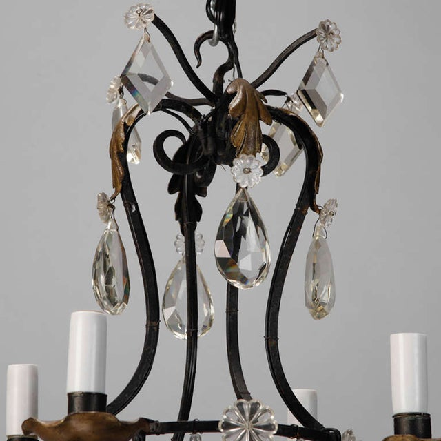 French 4-Light Black Iron & Crystal Chandelier - Image 3 of 4