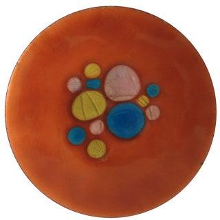 Mid-Century Orange Enamel Plate