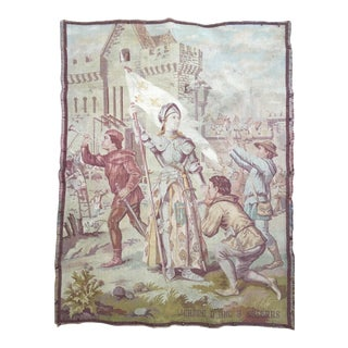 1920s Antique French Joan of Arc Tapestry Panel