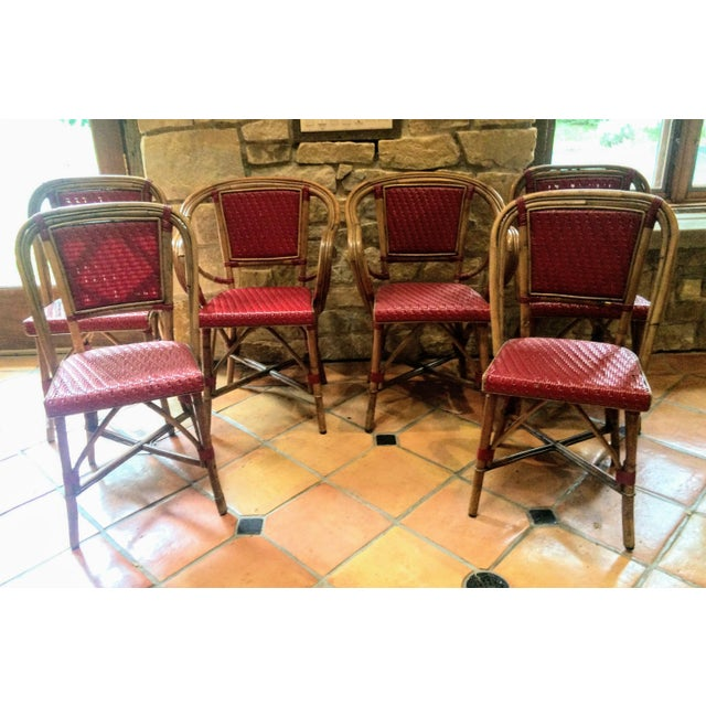 Vintage Woven French Bistro Chairs - Set of 6 - Image 4 of 11