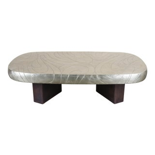 White Bronze Hand Repousse Fei Tian Wen Cocktail Table
