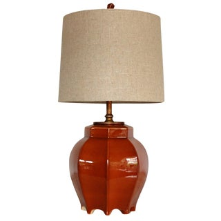 Mid-Century Footed Octagon Lamp W/Shade