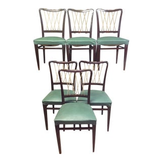 Mid-Century Italian Rope Back Dining Chairs - Set of 6