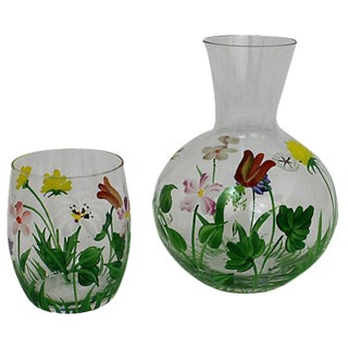 Hand-Painted Carafe & Cup