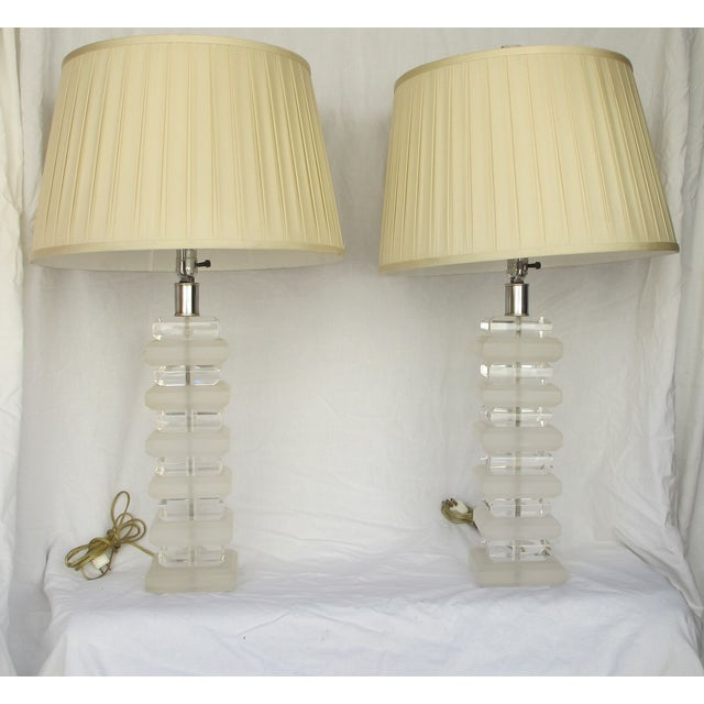 Image of Mid-Century Layered Lucite Table Lamps - A Pair