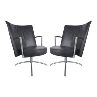 Leather and Stainless Steel Club Chairs Designed by Foersom & Hiort-Lorentzen