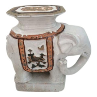 Ceramic Glazed Blanc Elephant Garden Seat