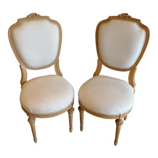 French Style Hand Carved Side Chairs - Pair