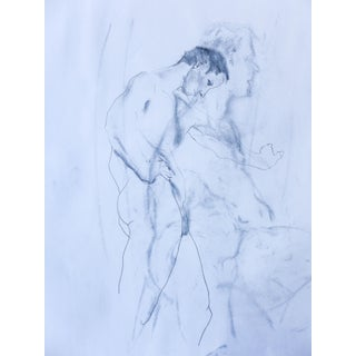 Masculine Double Exposure Blue Pencil Drawing