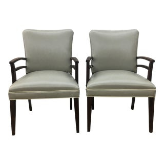 1940s Grey Vinyl Armchairs - A Pair