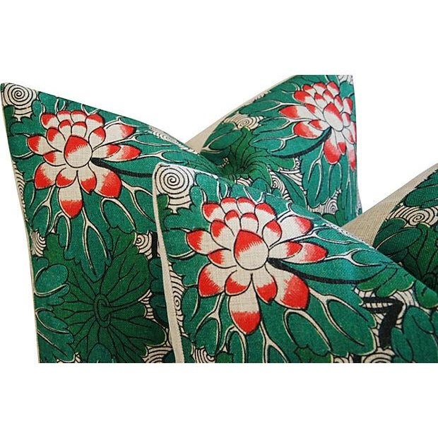Custom Chinese Lotus Blossom Linen Pillows - Pair - Image 5 of 6