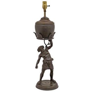 Grand Tour Bronze Figure of Silenius as a Oil Lamp