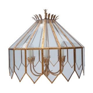 Mid Century Italian Gold Gilt & Glass Chandelier