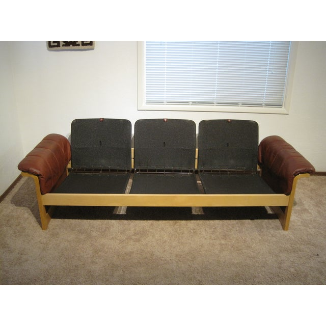 Red-Brown Leather Midcentury Modern Sofa - Image 5 of 11