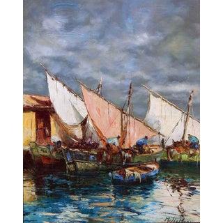 Impressionist Dock Scene Marine Oil Painting