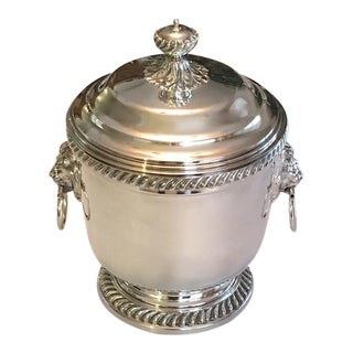 Vintage Large Silver Lidded Ice Bucket & Cooler With Lions Head Handles
