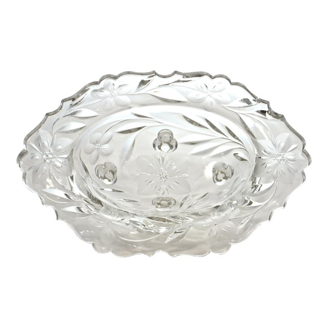 Image of Oval Cut-Crystal Footed Bowl