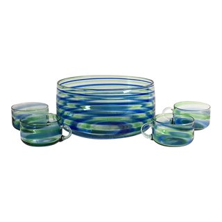 Mid-Century Artisanal Glass Swirl Punch Bowl Set - Set of 5