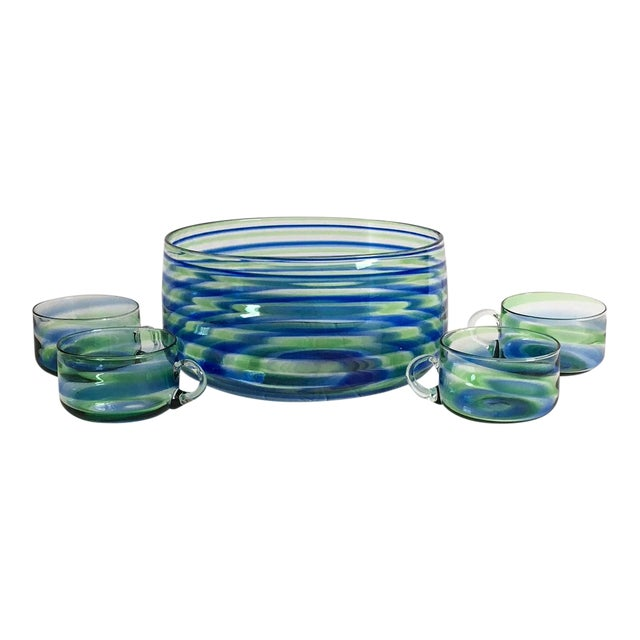 Mid-Century Artisanal Glass Swirl Punch Bowl Set - Set of 5 - Image 1 of 6