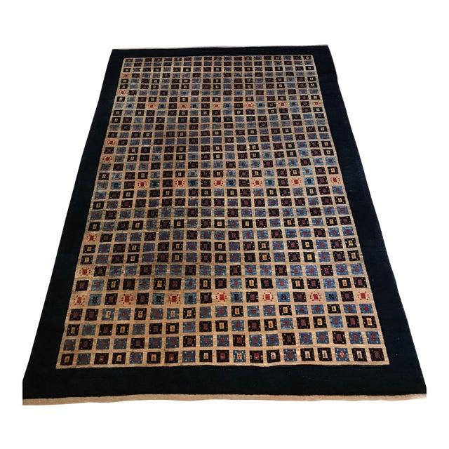 Image of Persian Handknotted Blue Gabbeh Rug - 6′8″ × 9′2″