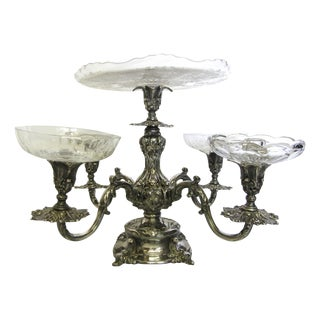 Reed & Barton Silver Epergne With Etched Plate