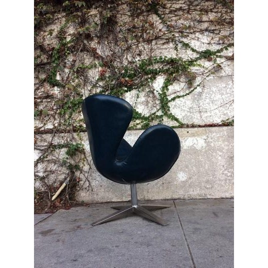 Image of Mid-Century Navy Blue Swivel Style Chair