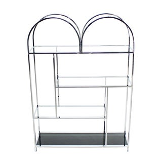 Large and Wide Chrome and Glass Etagere