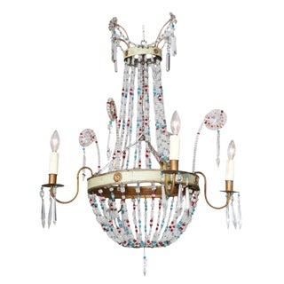 Mulit-colored Glass Beaded Italian Chandelier, Circa 1920