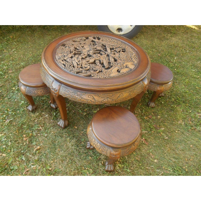 Vintage Japanese Hand Carved Tea Table Dining Set - Image 2 of 9