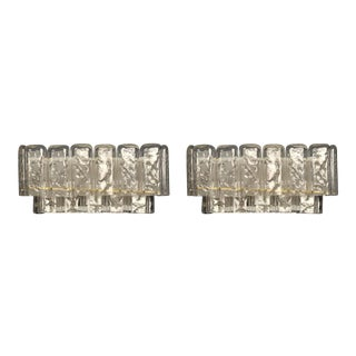 Mazzega Hand-Blown Glass Rectangular Sconces - a Pair