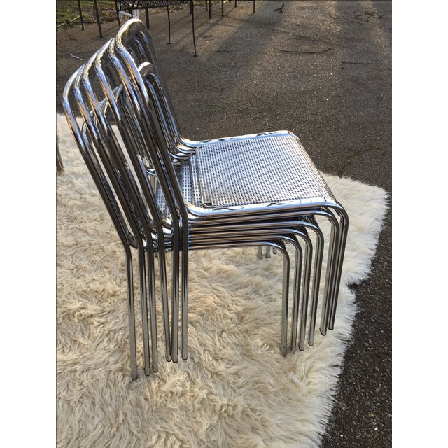 Vintage Chrome Stacking Chairs - 6 - Image 5 of 7
